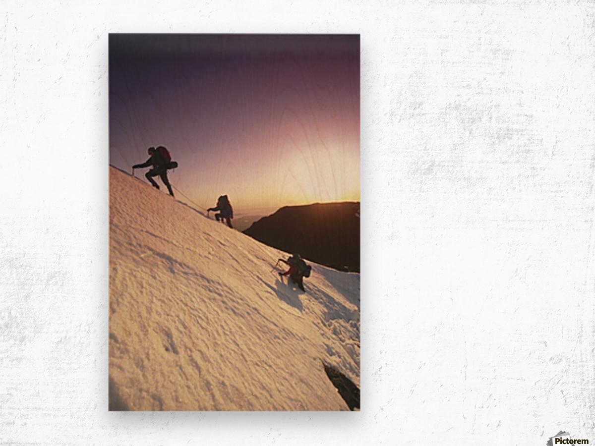 Mountain Climbers @ Sunset Chugach Mts Southcentral Ak Wood print