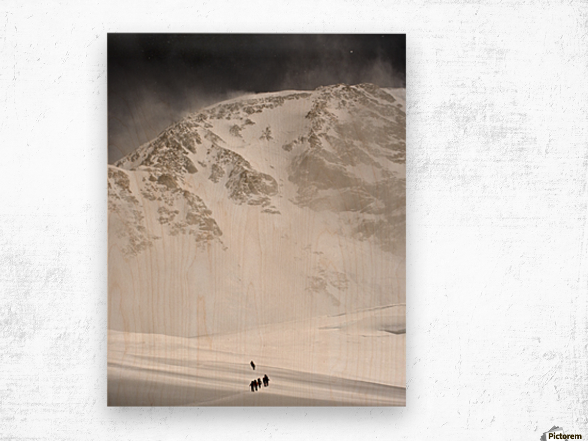 View Of Climbers Traversing The Kahiltna Glacier On The West Buttress Route With The South Face Of Denali In The Background, Denali National Park And Preserve, Interior Alaska, Summer Wood print
