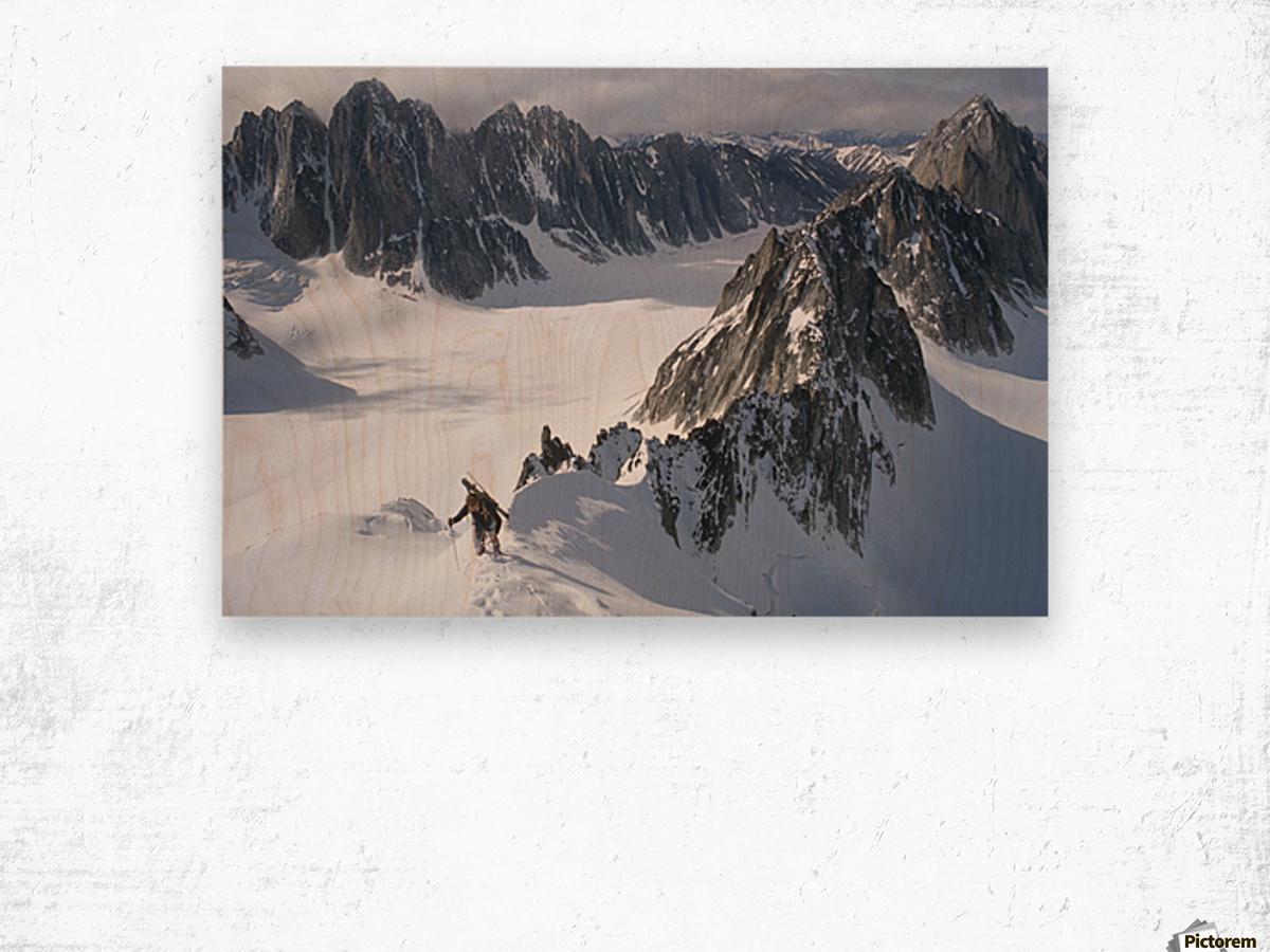 Mountaineer Climbing On Narrow Ridge In Kichatna Mtns Denali National Park Interior Alaska Winter Wood print