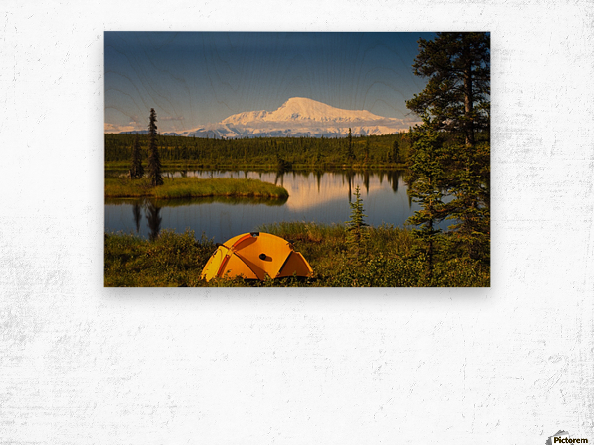 Tent Camping In Wrangell Saint Elias National Park With Mount Sanford In The Background, Southcentral Alaska, Summer Wood print
