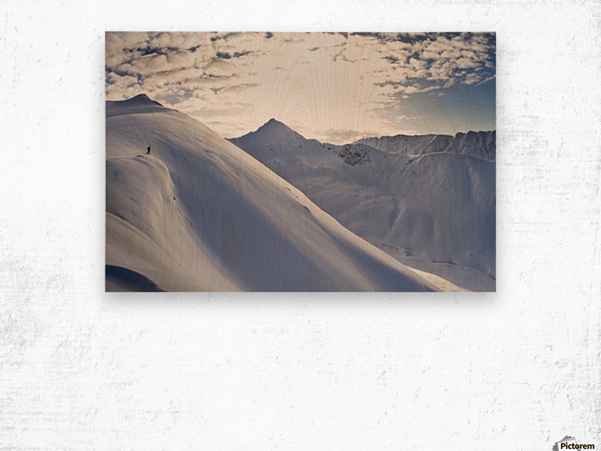 Man Backcountry Skiing In Powder Snow At Wolverine Bowl, Turnagain Pass, Kenai Mountains, Southcentral Alaska, Winter Wood print