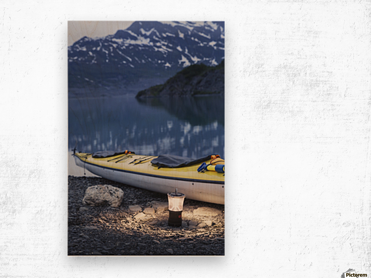 Kayak and lantern on the beach with mountains in the back ground at dusk, Shoup Bay State Marine Park, Prince William Sound, Valdez, Southcentral Alaska Wood print