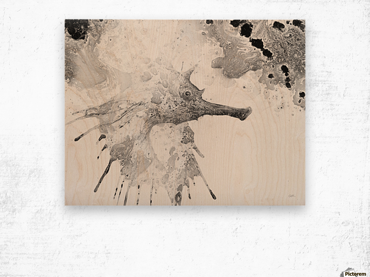 Illustration of fish with long nose surrounded by splashes and mottled abstract Wood print