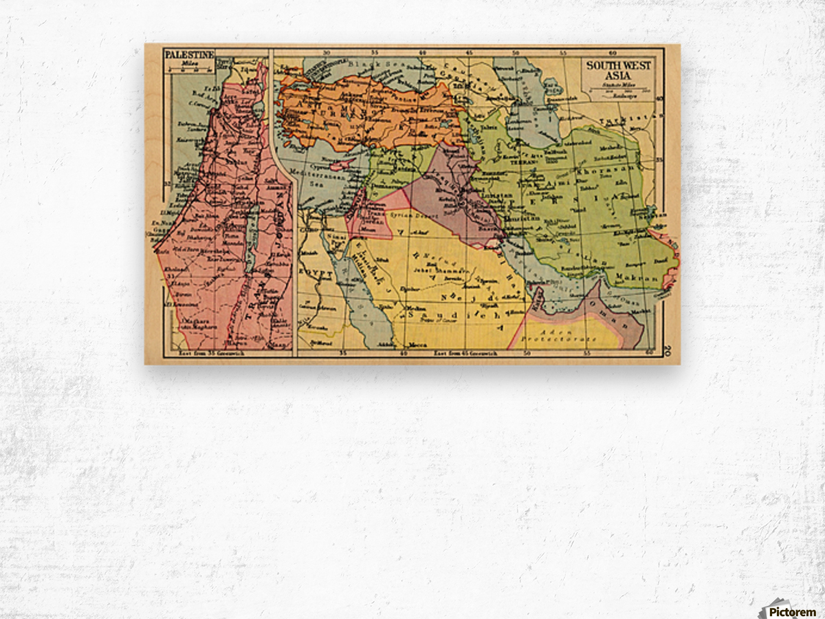 A 1930s map of palestine left and south west asia right wood print a 1930s map of palestine left and south west asia right wood print gumiabroncs Images