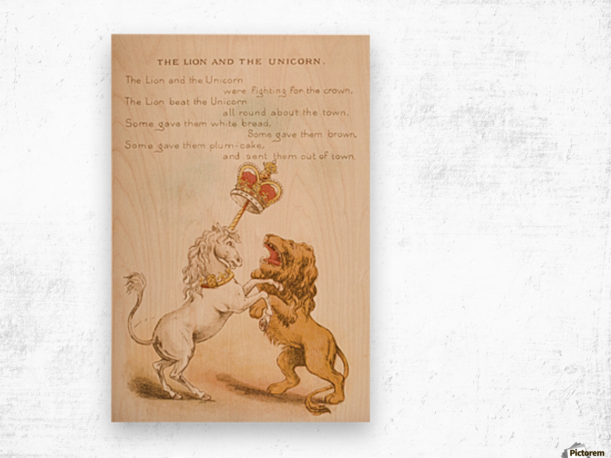 The Lion and the Unicorn from Old Mother Goose's Rhymes and Tales  Illustration by Constance Haslewood  Published by Frederick Warne & Co London and New York circa 1890s  Chromolithography by Emrik & Binger of Holland Wood print