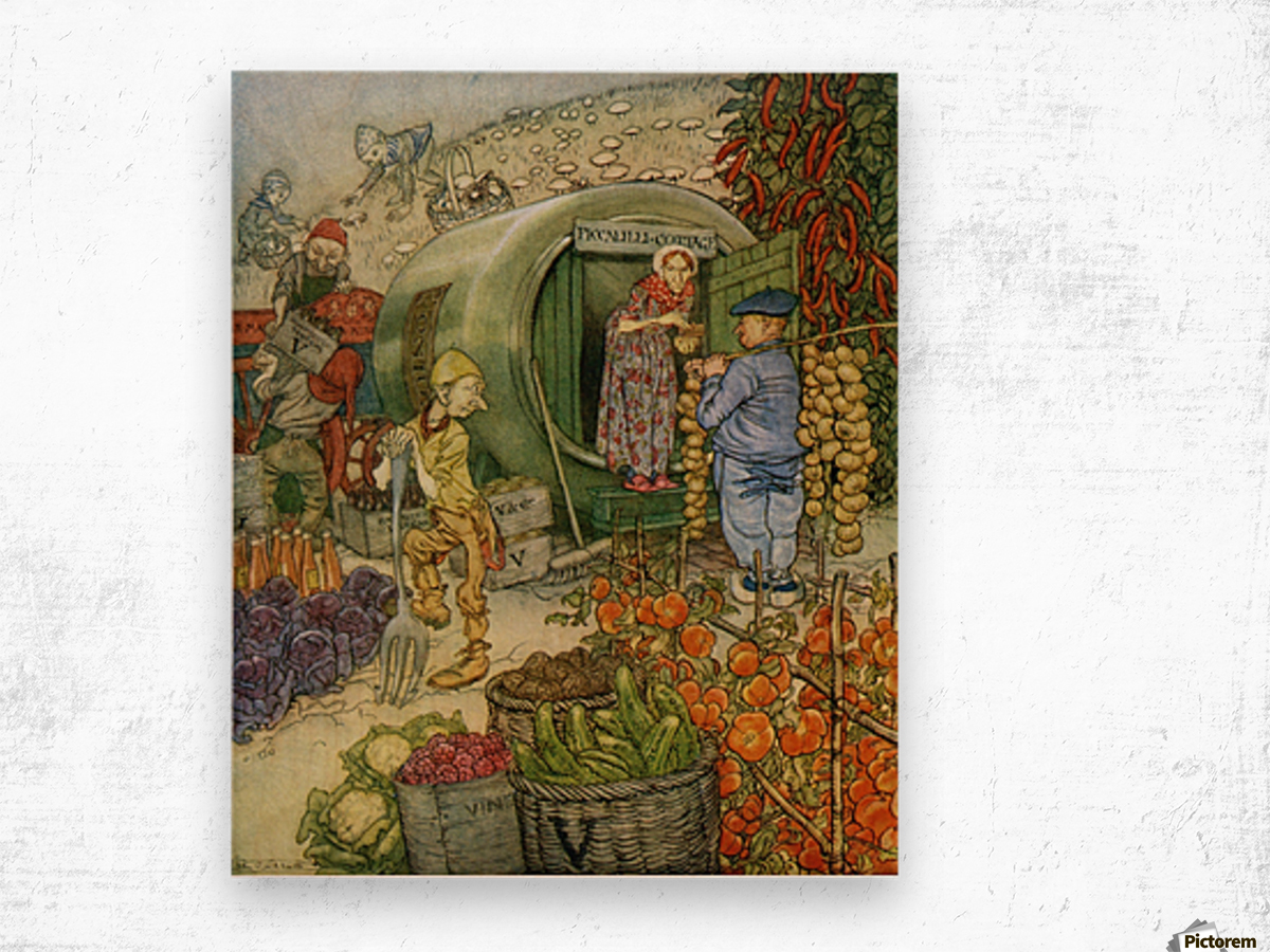 Mr and Mrs Vinegar At Home.  From the book English Fairy Tales retold by F.A. Steel with illustrations by Arthur Rackham, published 1927. Wood print
