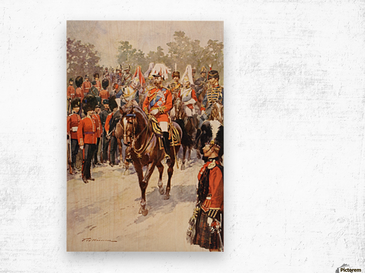 George V, as Field Marshal and British Regiments of which he was colonel.  George Frederick Ernest Albert, 1865 to 1936.  After the painting by Frederic de Haenen from The Illustrated London News, 1910. Wood print