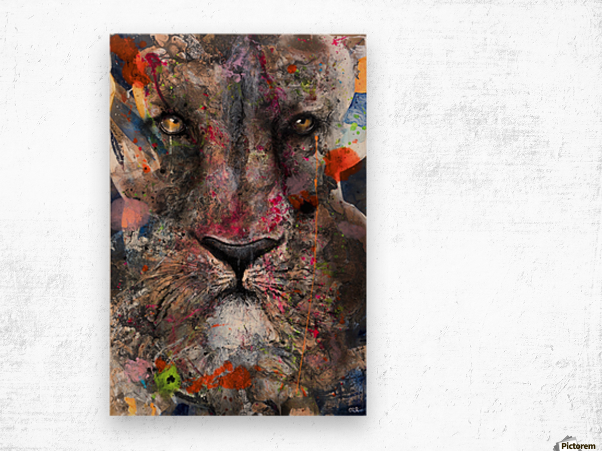 Illustration of a lion's face with colourful splashes Wood print
