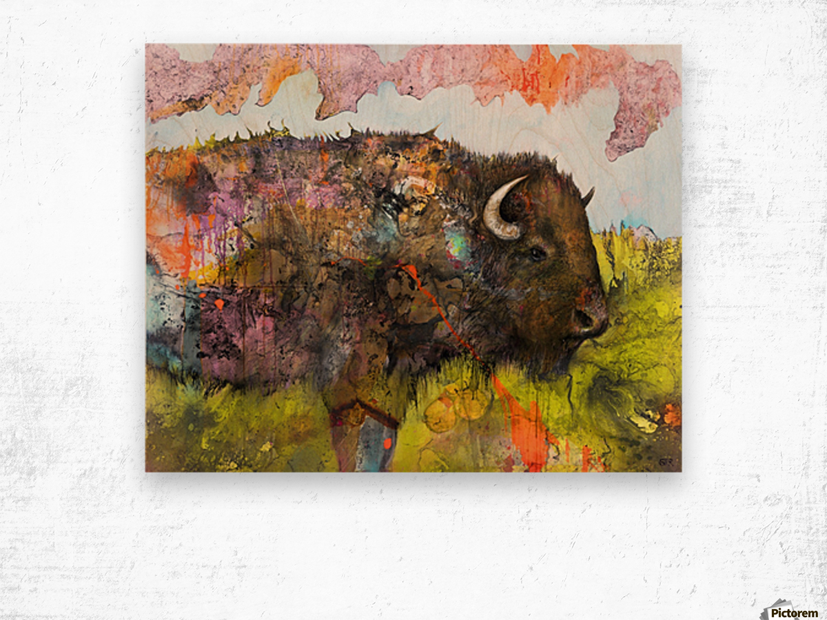 Illustration of a buffalo with colourful splashes and landscape Wood print