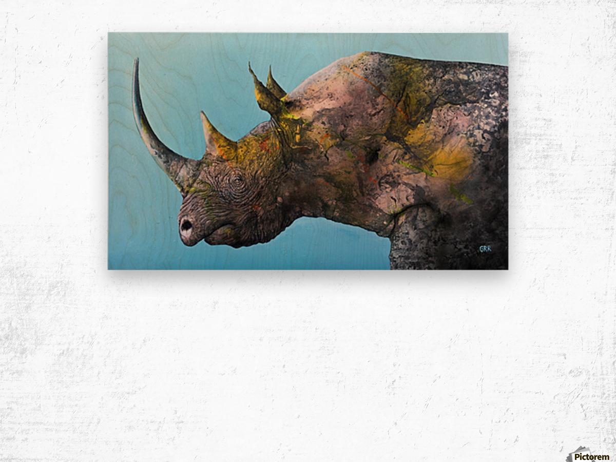 Illustration of a white rhinoceros against a blue background Impression sur bois
