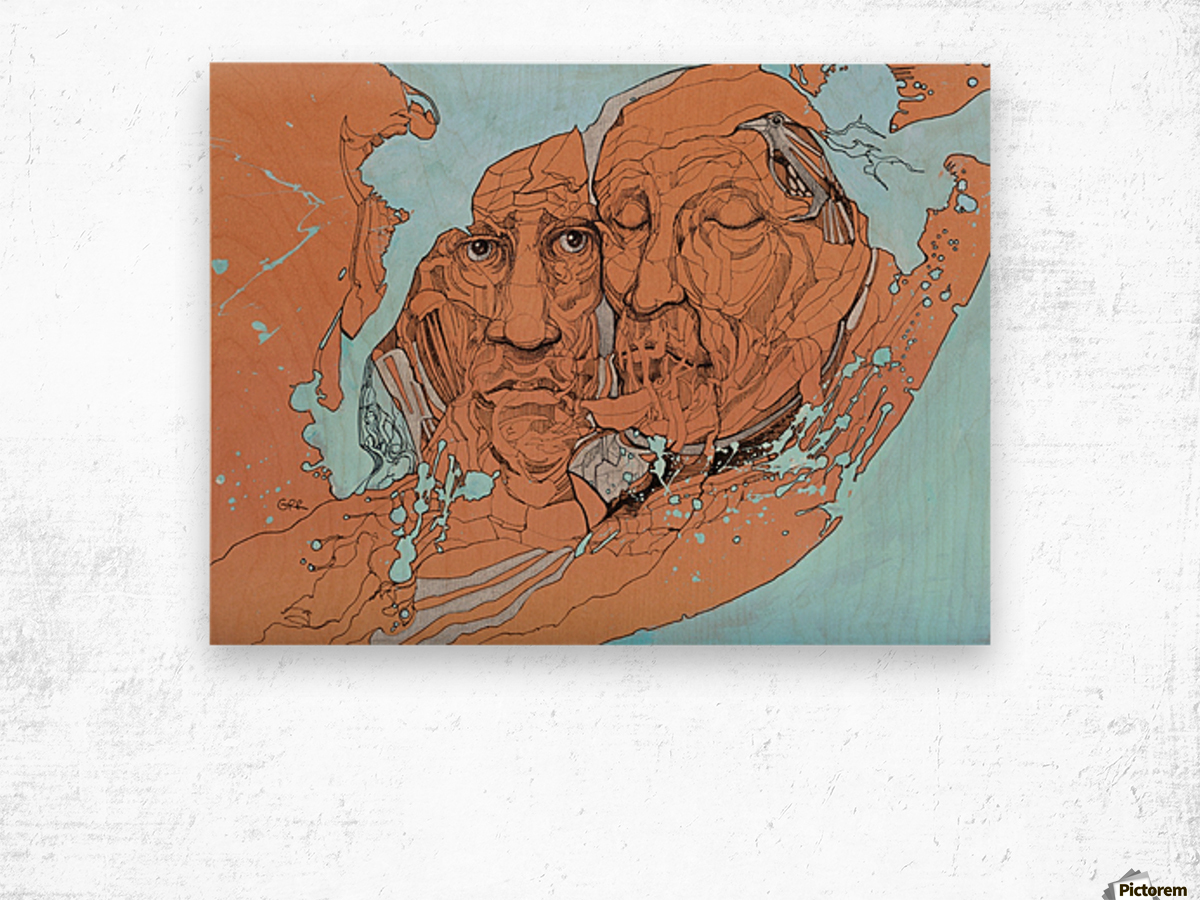Illustration of two male faces and an abstract blue and brown background Wood print