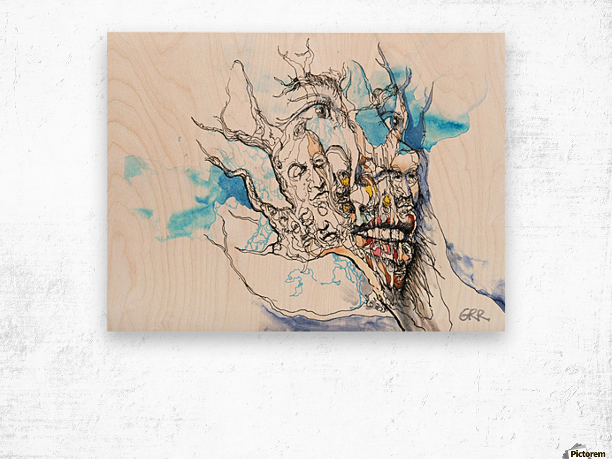 Illustration of a human face with a composite of other faces on the surface Wood print
