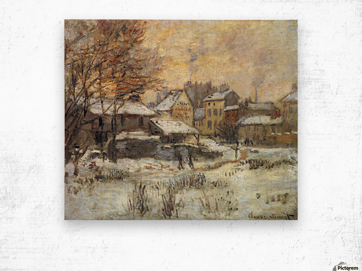 Snow at sunset, Argenteuil in the snow by Monet Wood print