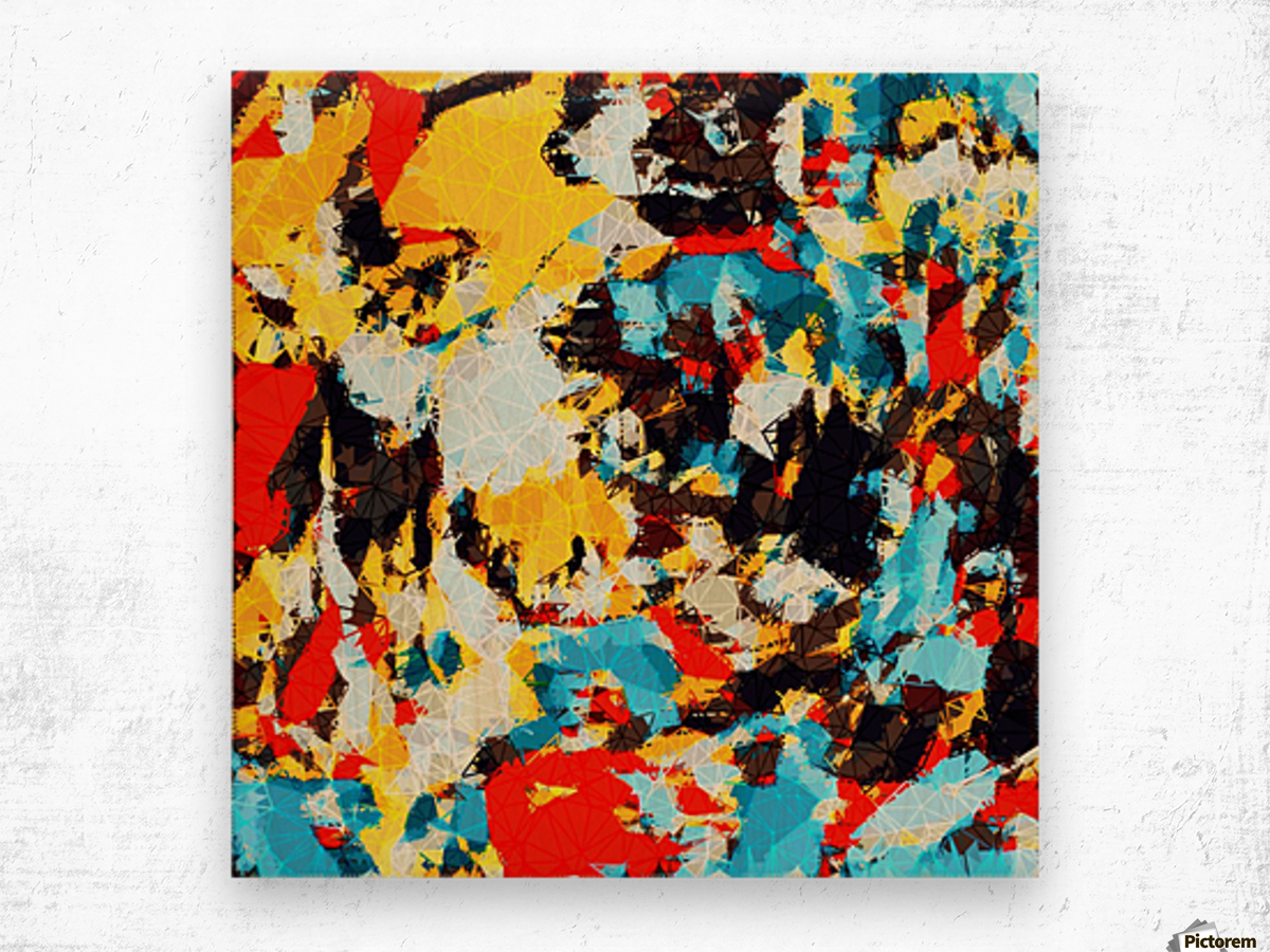psychedelic geometric splash painting abstract pattern in yellow red blue brown Wood print