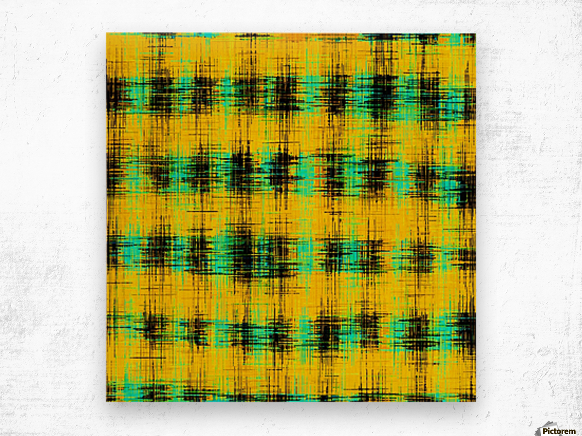 plaid pattern abstract texture in yellow green black Wood print