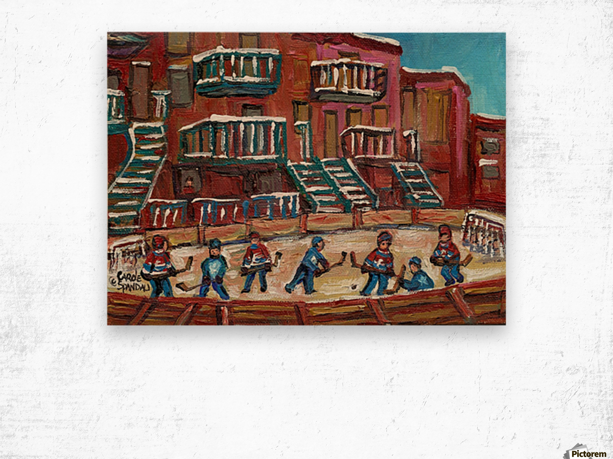 MONTREAL WINTER SCENE OUTDOOR HOCKEY RINK Wood print