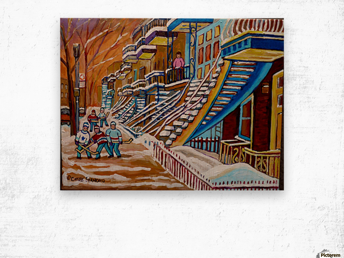 MONTREAL WINTER SCENE HOCKEY GAME NEAR THE BLUE STAIRCASE Wood print
