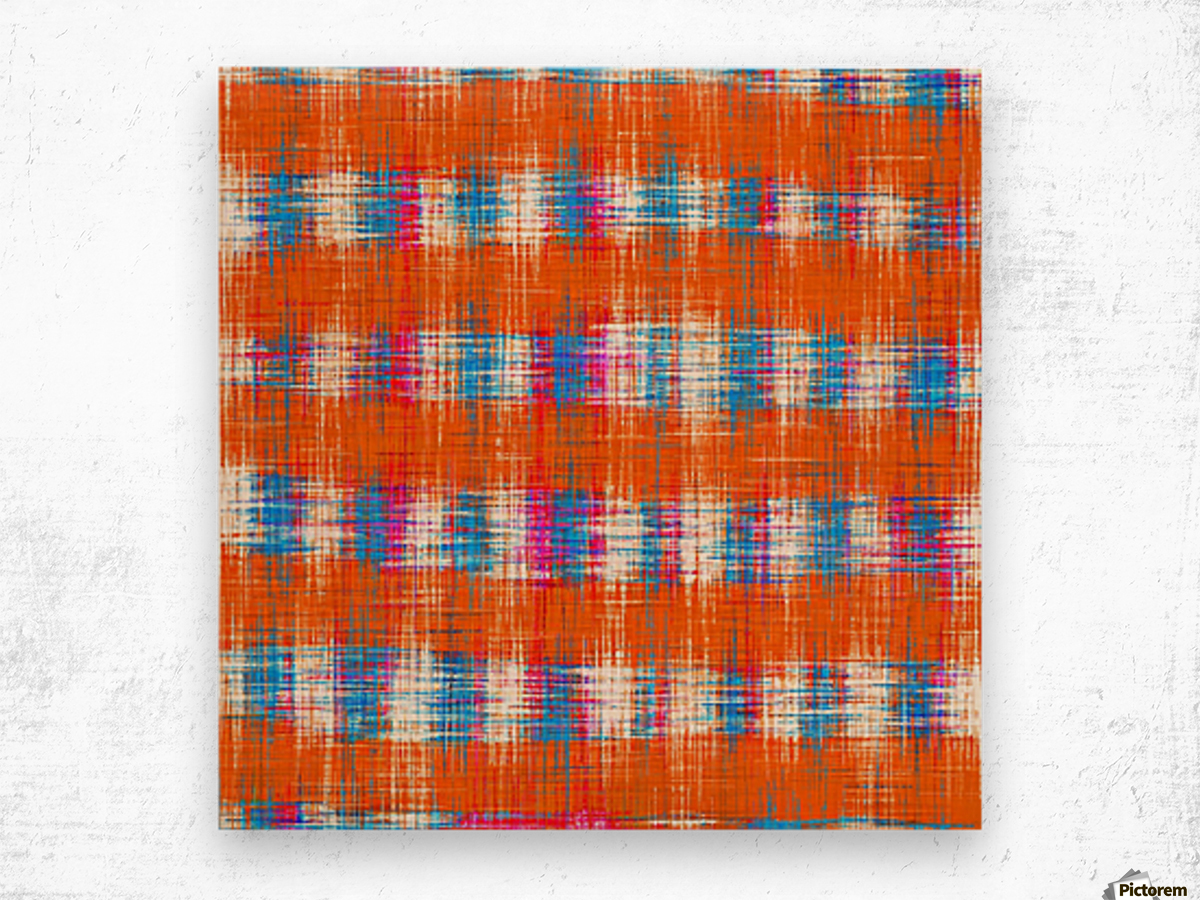 plaid pattern abstract texture in orange blue pink Wood print