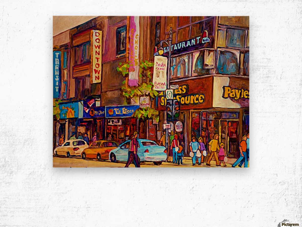 DOWNTOWN MONTREAL ST. CATHERINE WITH PAYLESS STORE Wood print
