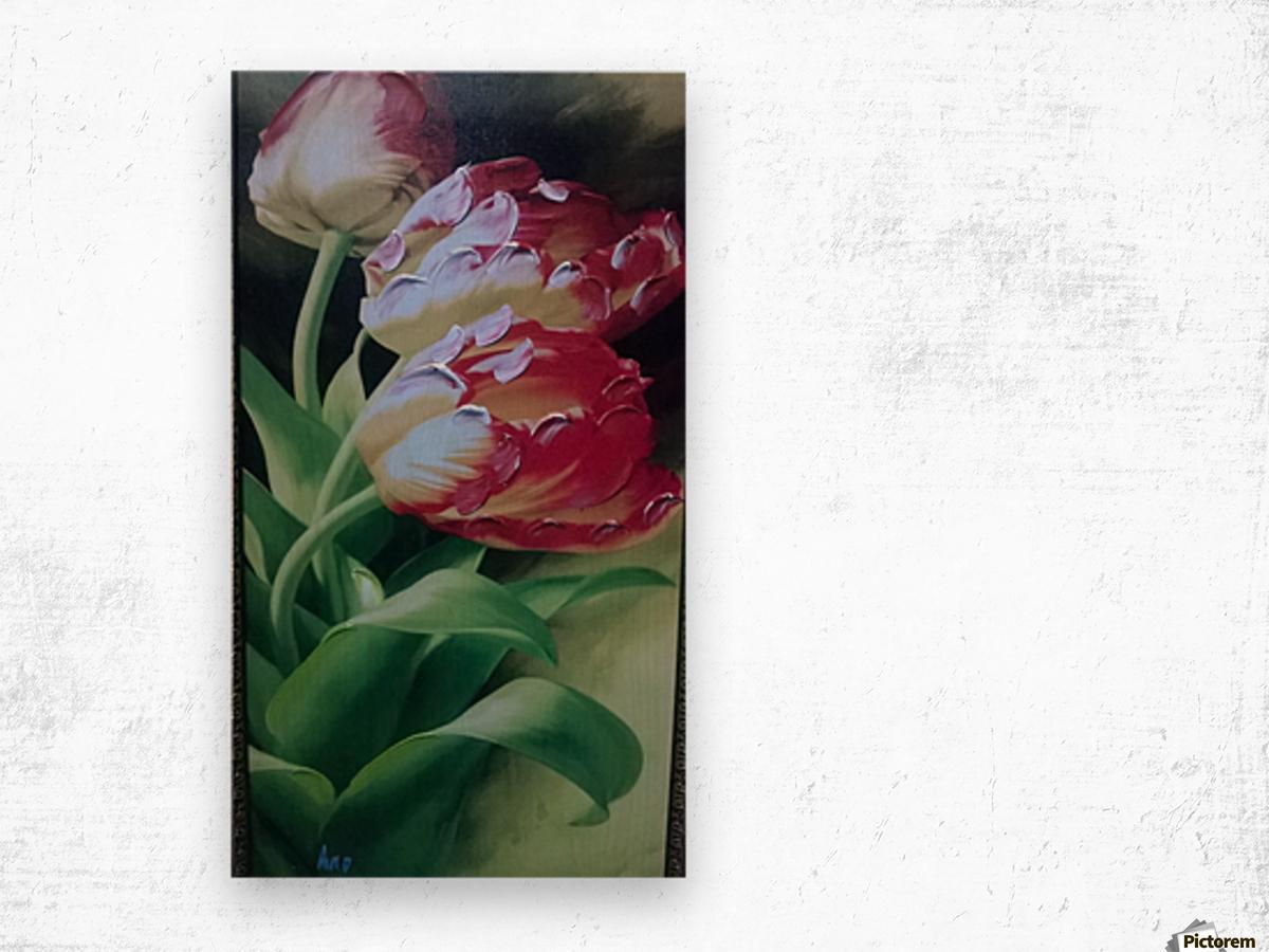 Red Love Flowers Impression sur bois