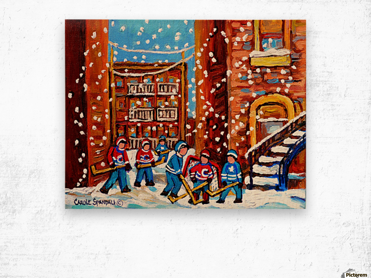 HOCKEY IN THE LANEWAY WITH SNOW Wood print