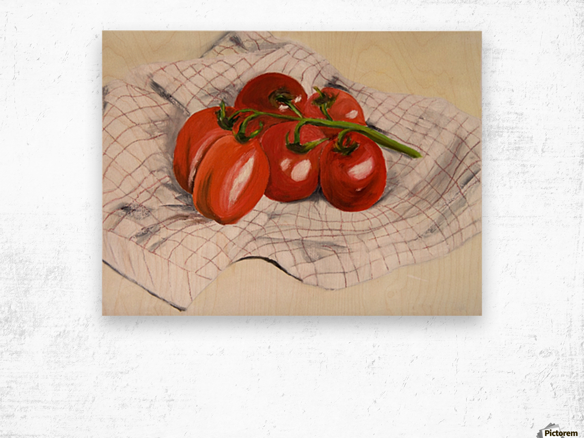 Tomatoes on a Striped Cloth  Wood print