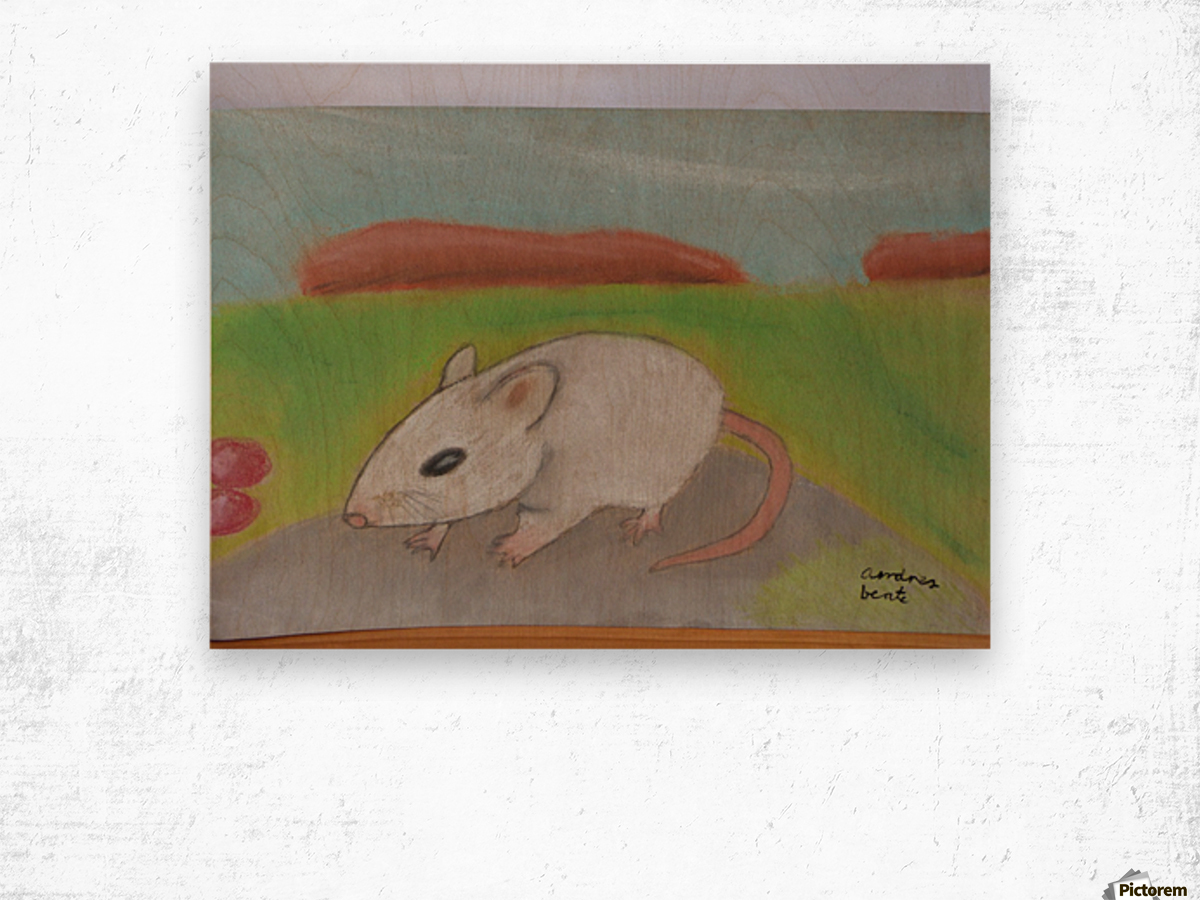 White mouse Wood print