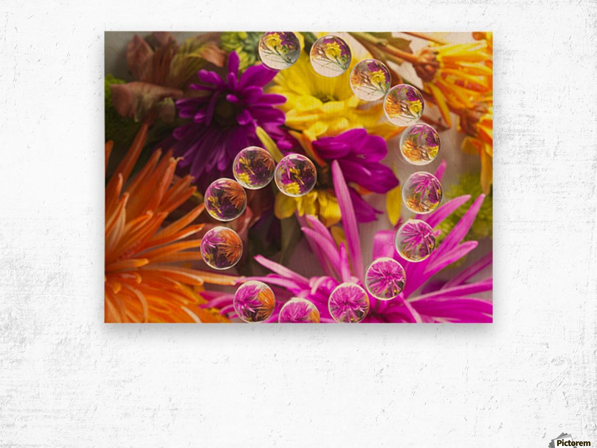 FLOWERS REFRACTION 13 Wood print