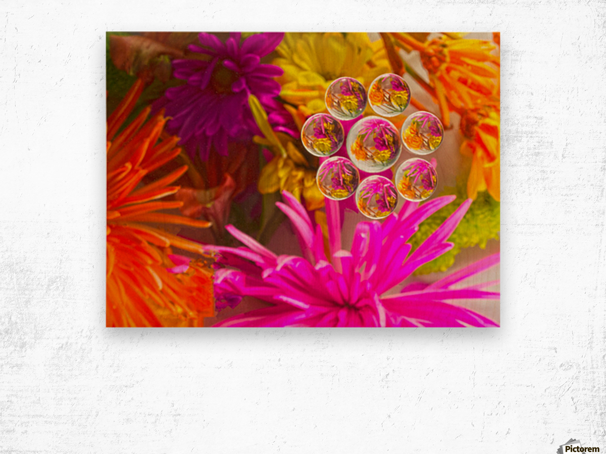 FLOWERS REFRACTION 12 Wood print