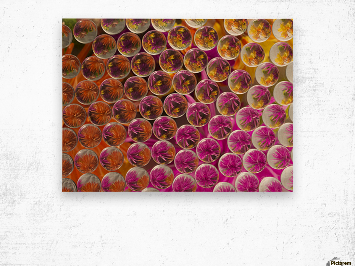 FLOWERS REFRACTION 5 Wood print