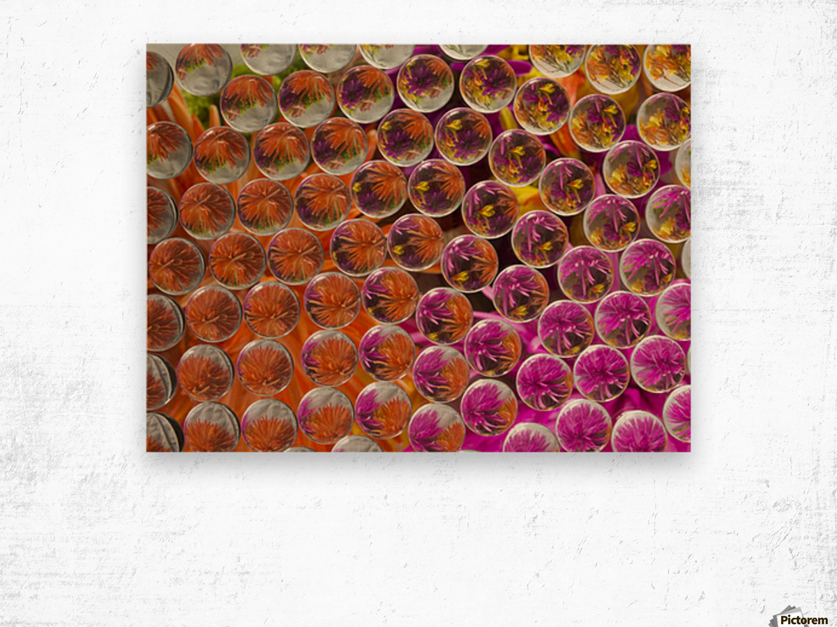 FLOWERS REFRACTION 4 Wood print