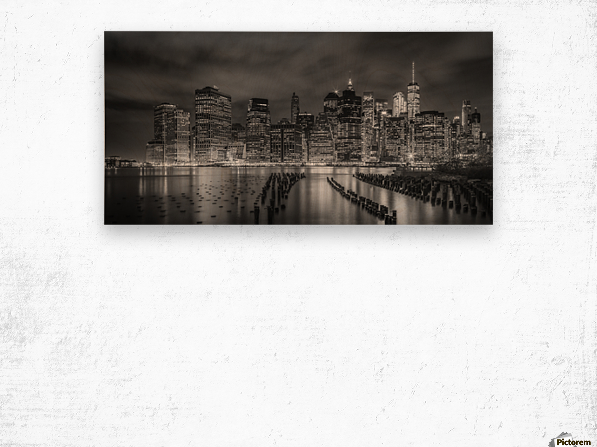 NEW YORK CITY Monochrome Night Impressions | Panoramic Wood print