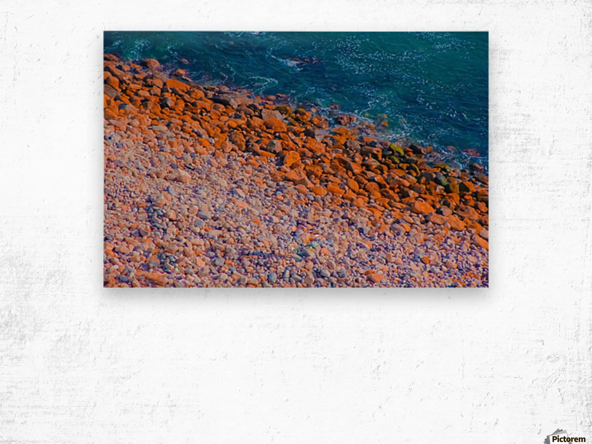 ocean with blue water and rock in summer Wood print