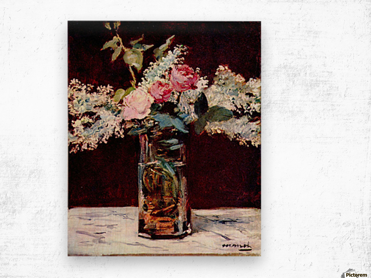 Still life, lilac and roses by Manet Wood print