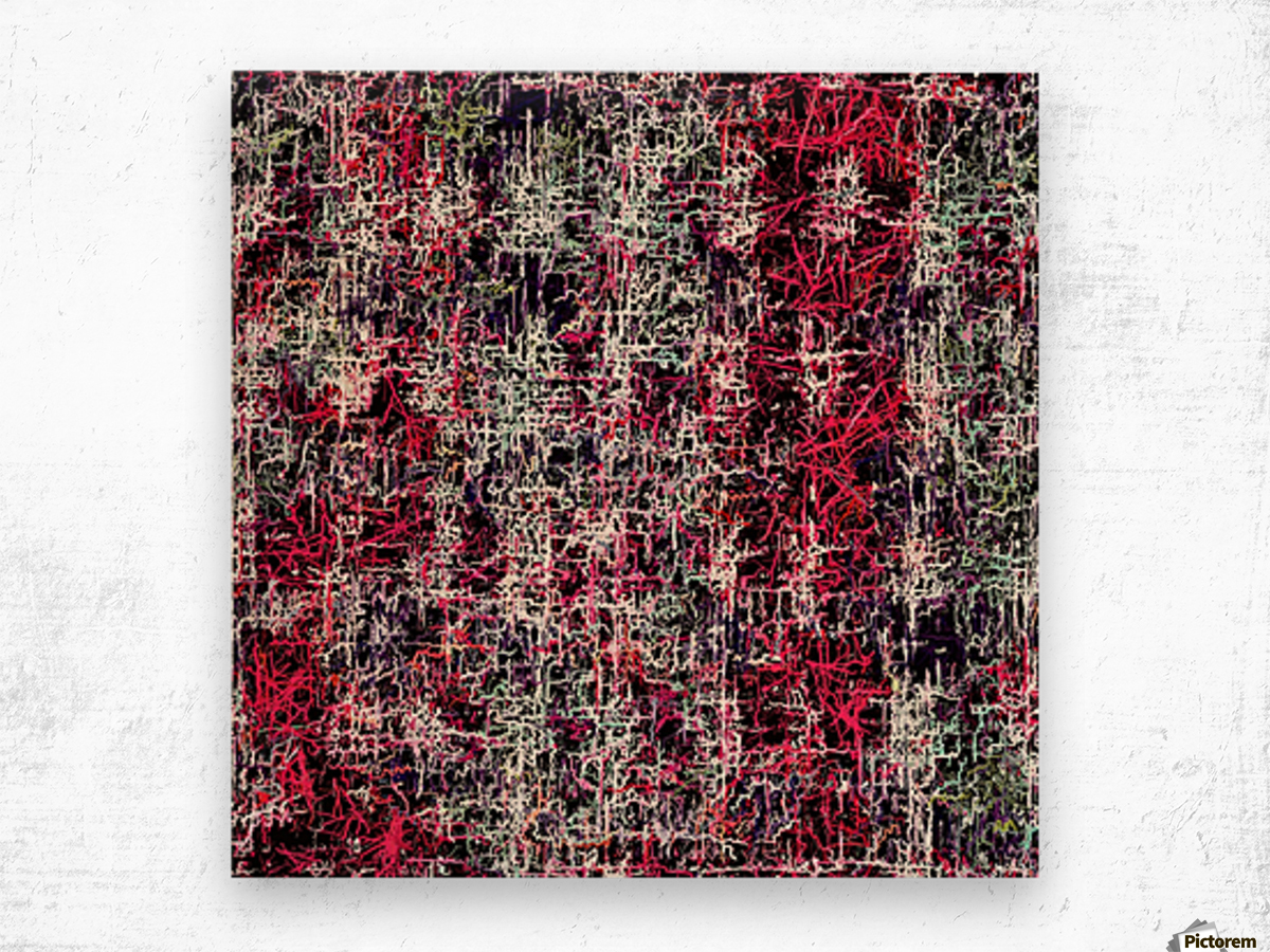 psychedelic abstract art pattern texture background in red pink black Wood print