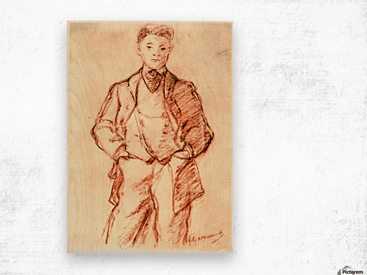 Study of a boy by Manet Wood print