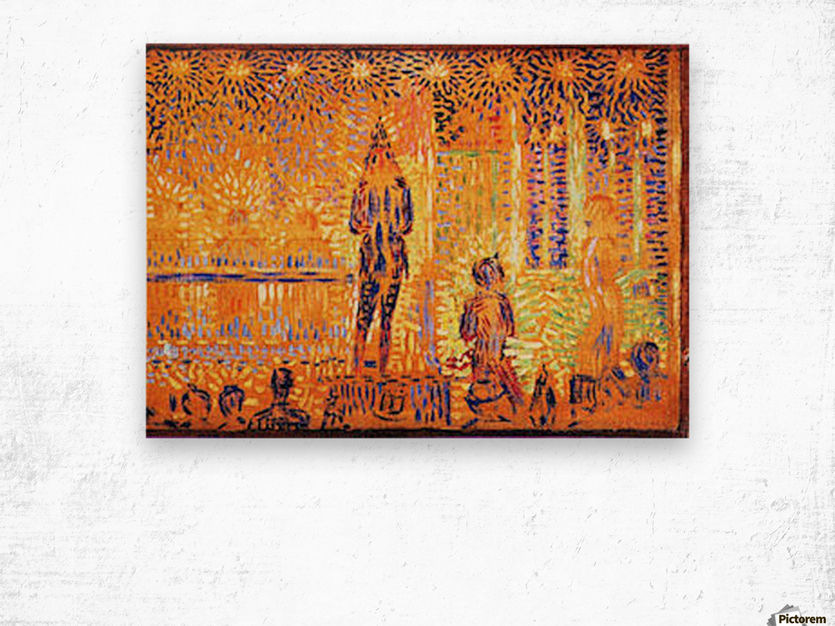 Study of the circus parade by Seurat Wood print