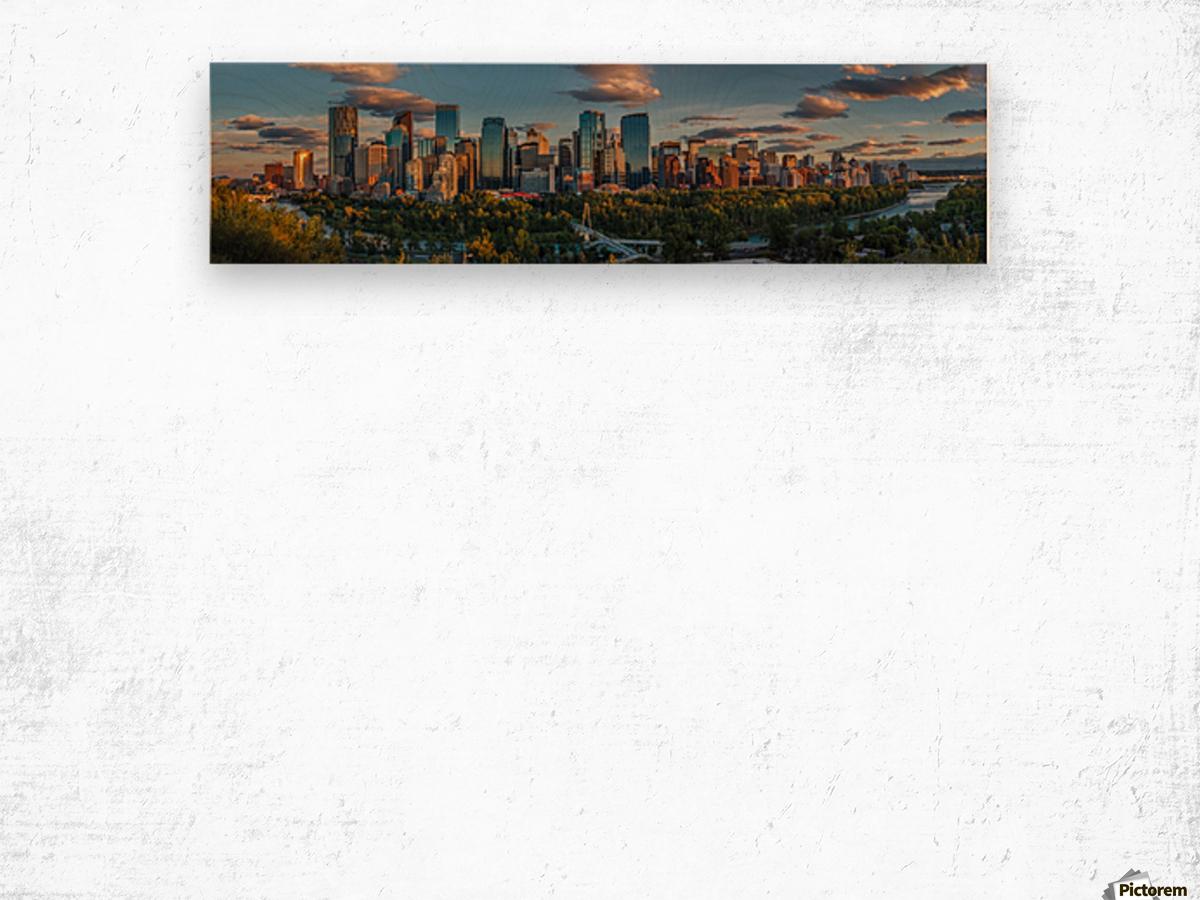 Calgary Downtown Four Bridges Sunset Wood print