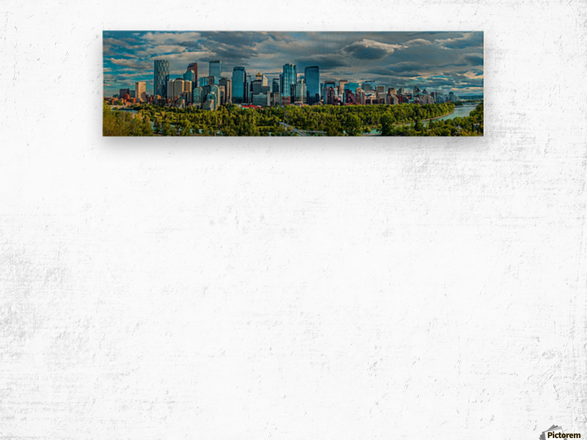 Calgary Downtown Four Bridges Blue Wood print