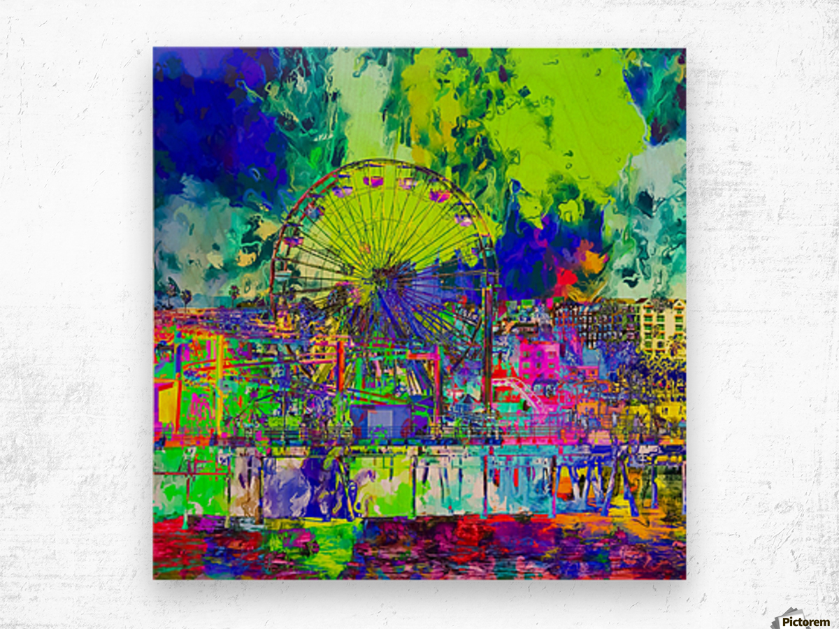 ferris wheel and buildings at Santa Monica pier, USA with colorful painting abstract background Wood print