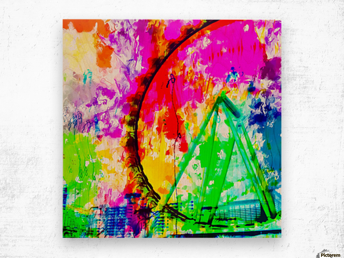 ferris wheel in the city at Las Vegas, USA with colorful painting abstract background Wood print