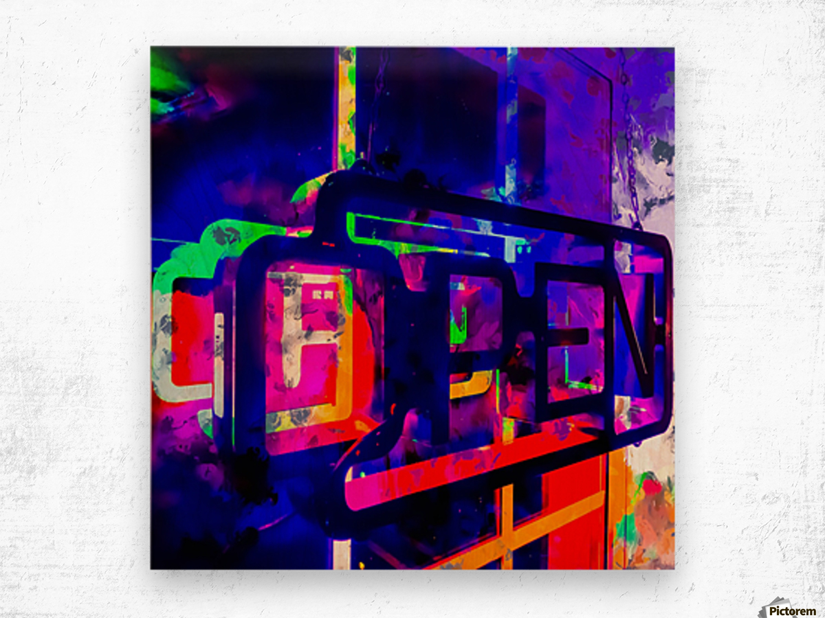 OPEN neon sign with pink purple red and blue painting abstract background Wood print