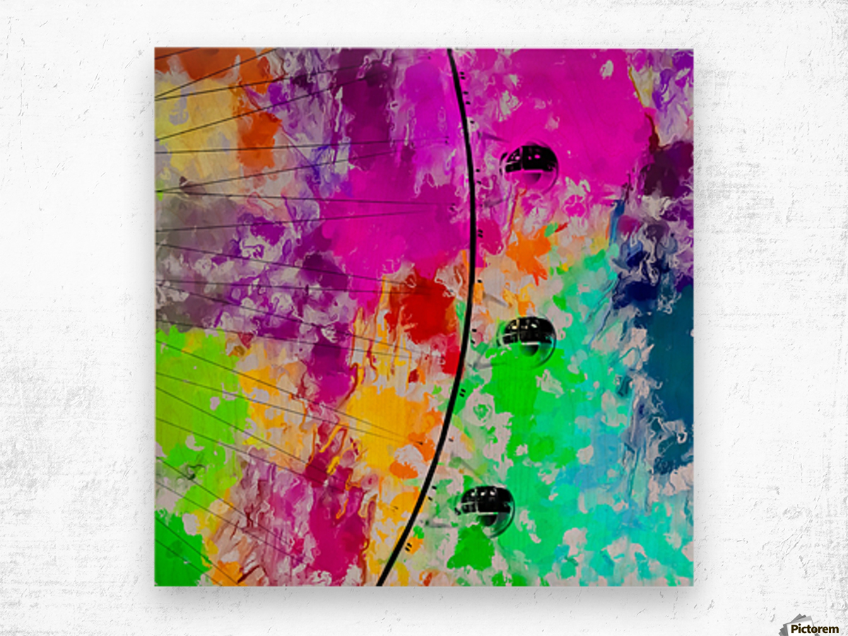 ferris wheel with pink blue green red yellow painting abstract background Wood print