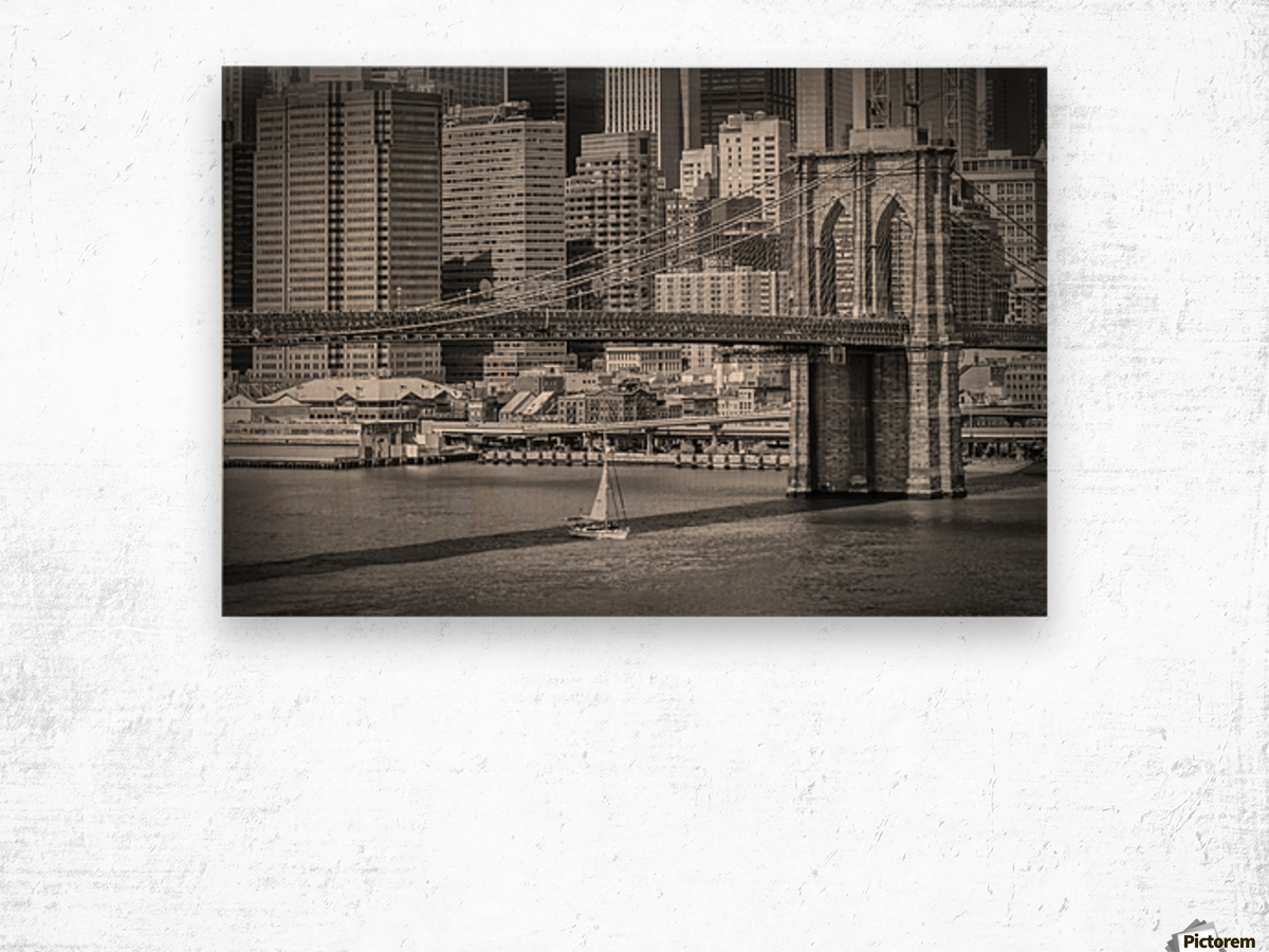 NEW YORK CITY Brooklyn Bridge & Manhattan Skyline Wood print