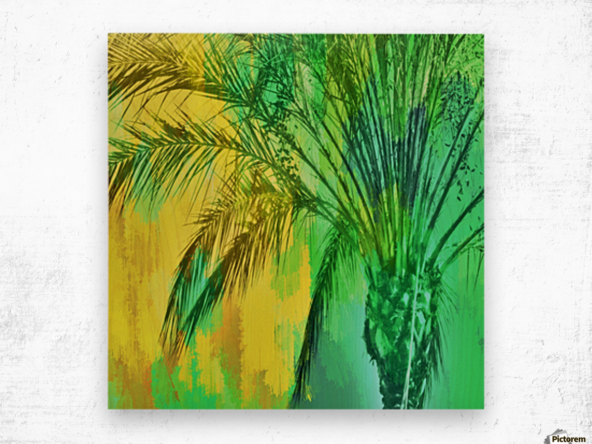 palm tree with green and yellow painting texture abstract background
