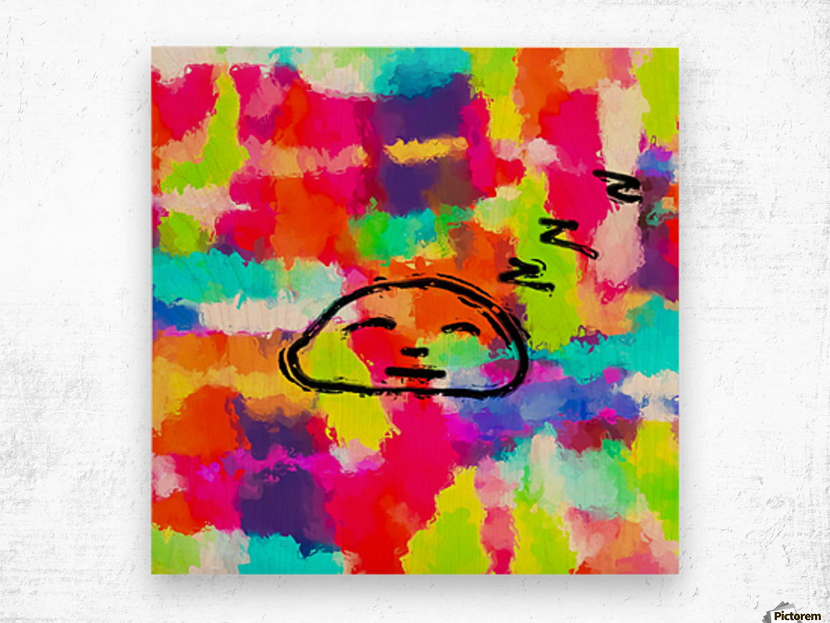sleeping cartoon face with painting abstract background in red pink yellow blue orange Wood print
