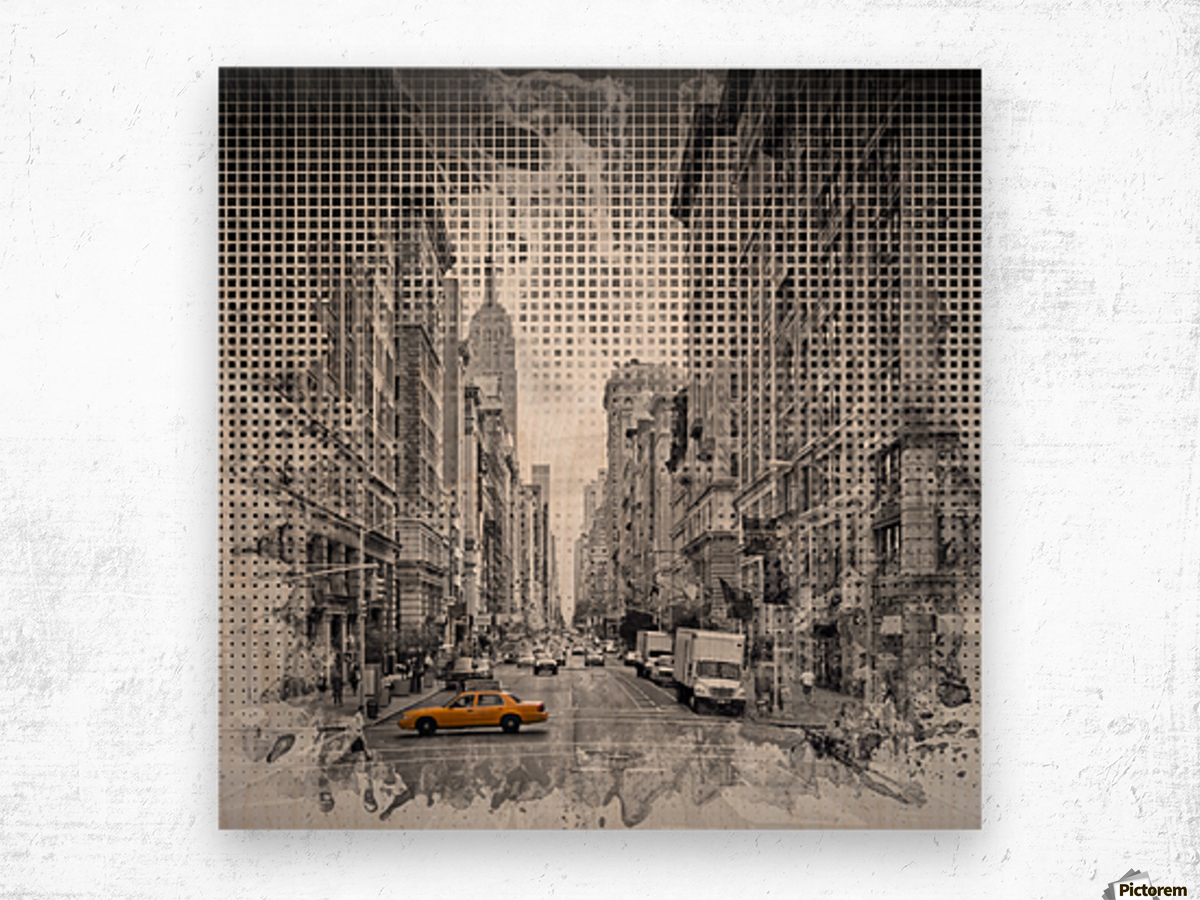 Graphic Art NEW YORK CITY 5th Avenue Wood print