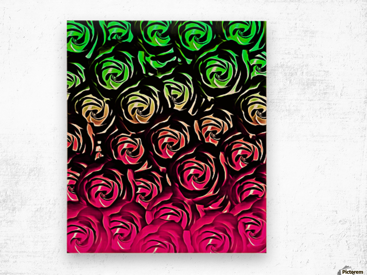 rose pattern texture abstract background in pink and green Wood print