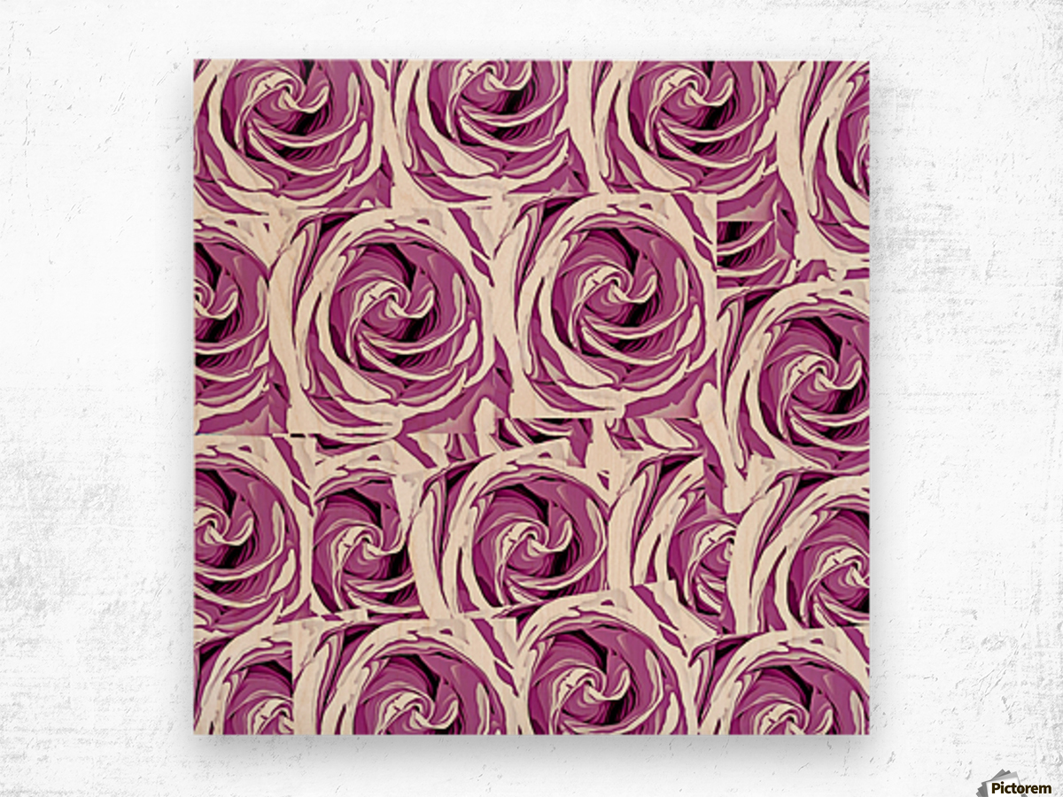 closeup pink rose texture pattern abstract background Wood print