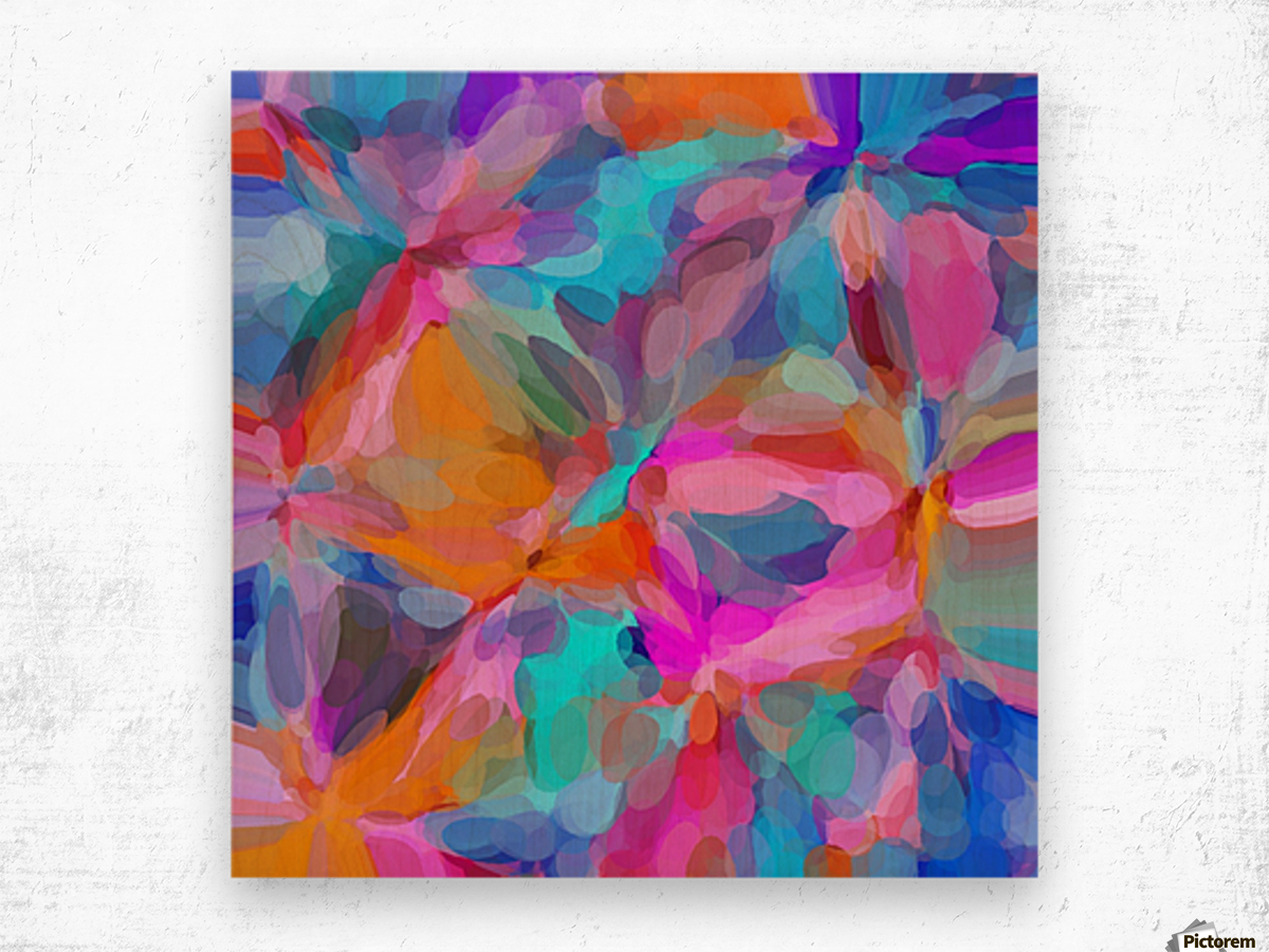 circle pattern abstract background in pink orange and blue Wood print